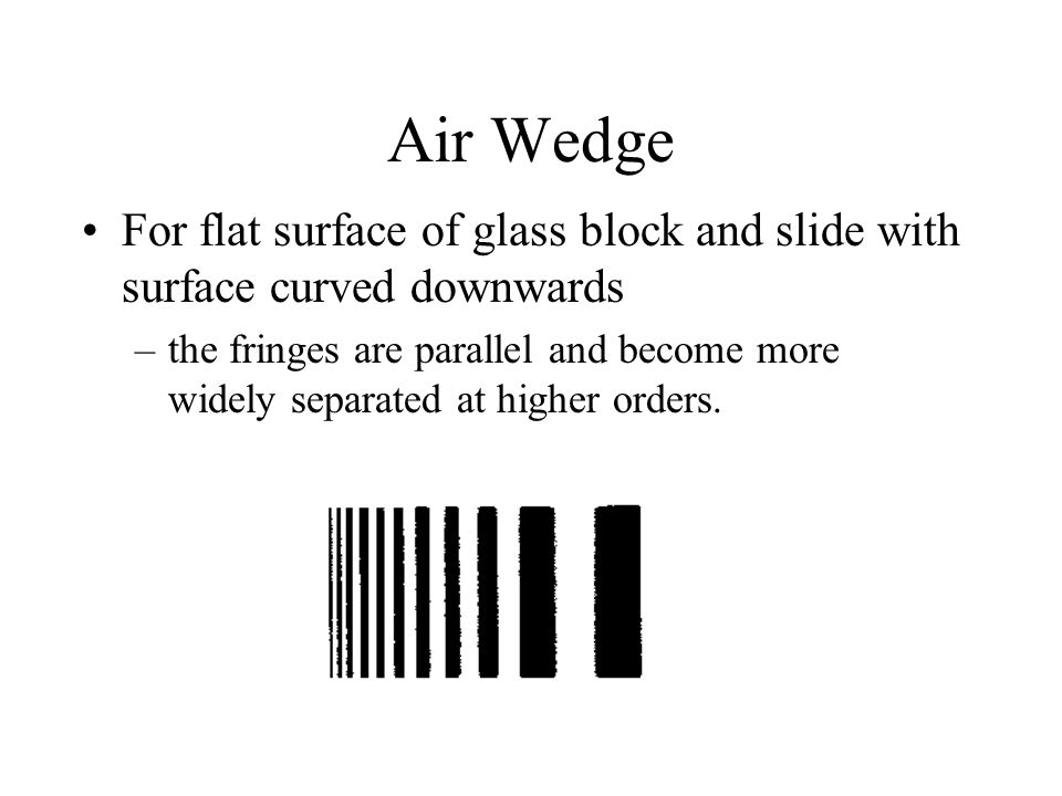 Air Wedge For flat surface of glass block and slide with surface curved downwards.