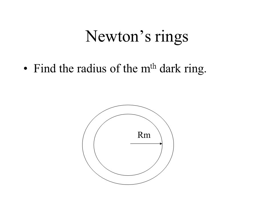 Newton's rings Find the radius of the mth dark ring. Rm