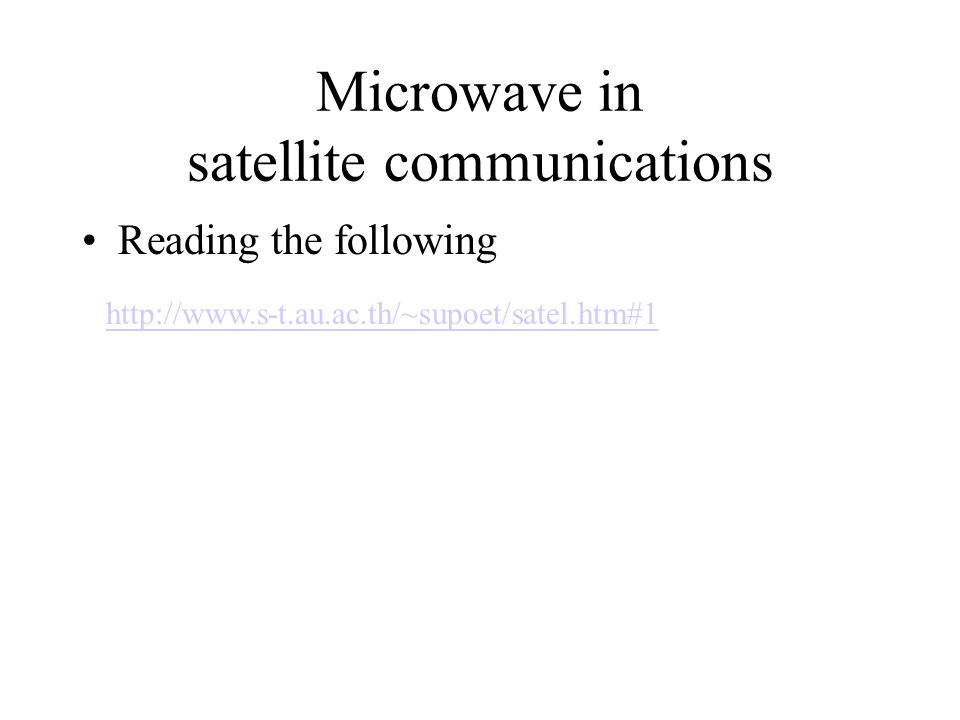Microwave in satellite communications