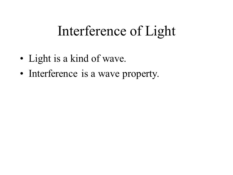 Interference of Light Light is a kind of wave.