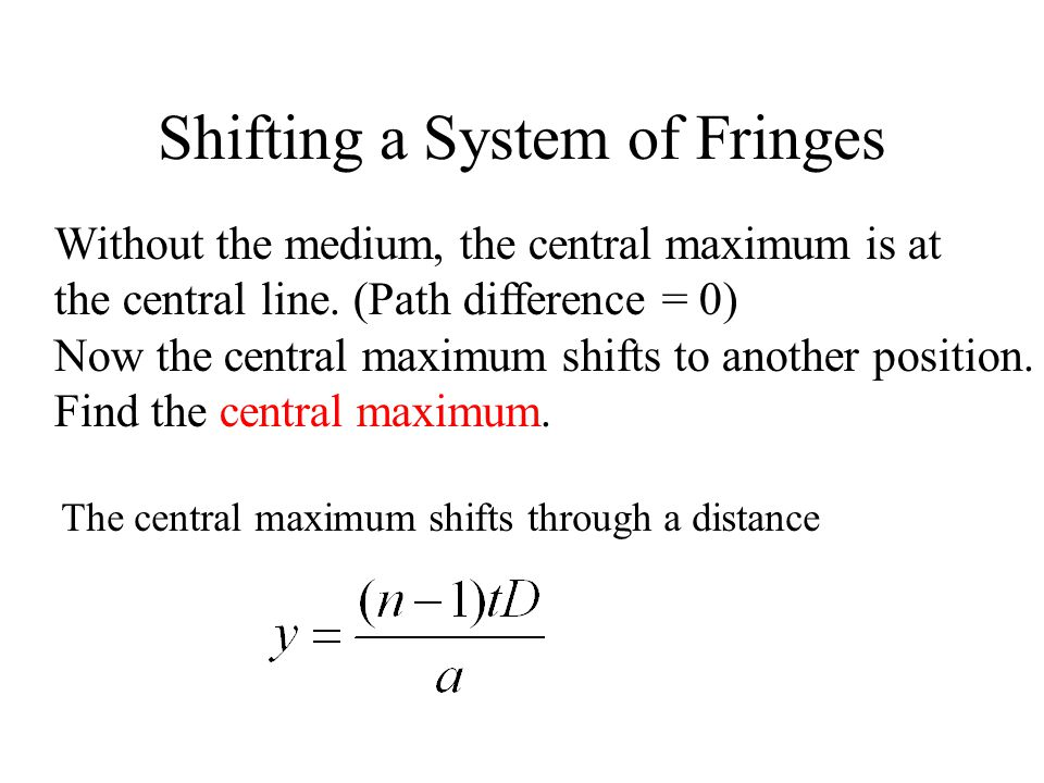 Shifting a System of Fringes