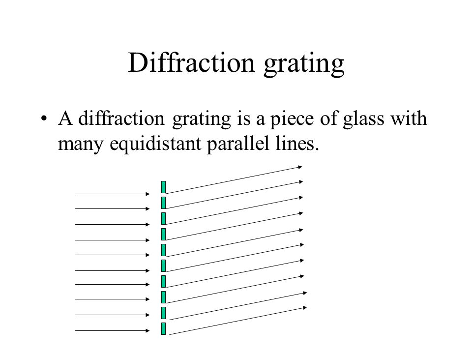 Diffraction grating A diffraction grating is a piece of glass with many equidistant parallel lines.