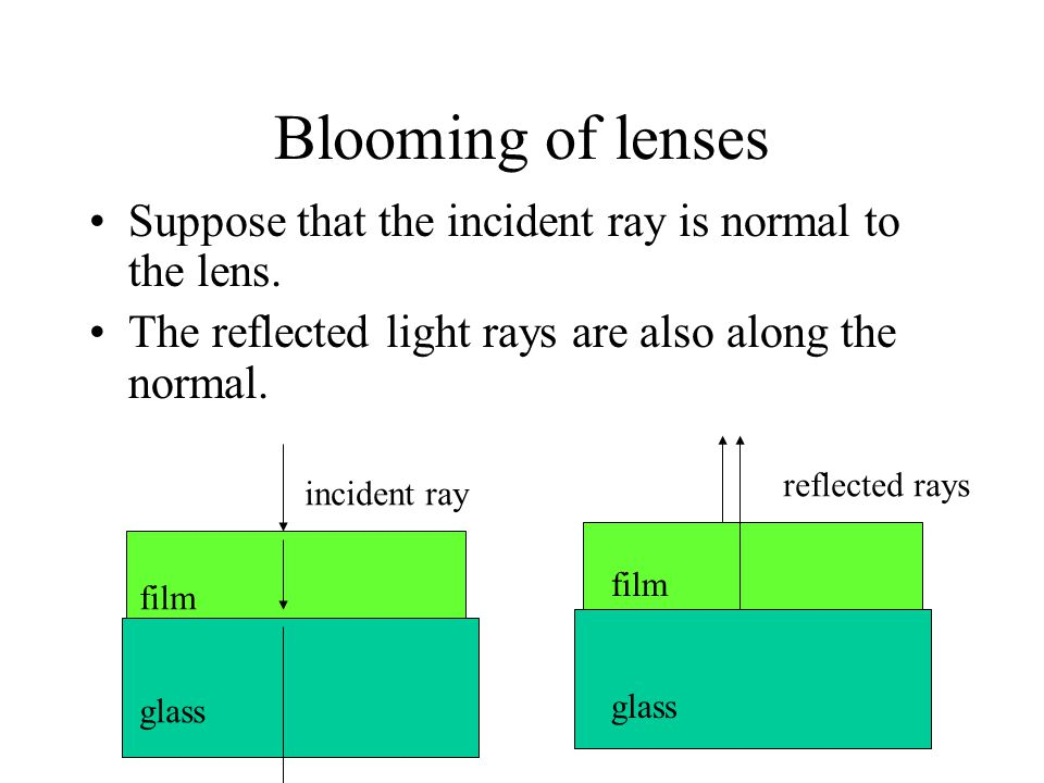 Blooming of lenses Suppose that the incident ray is normal to the lens. The reflected light rays are also along the normal.