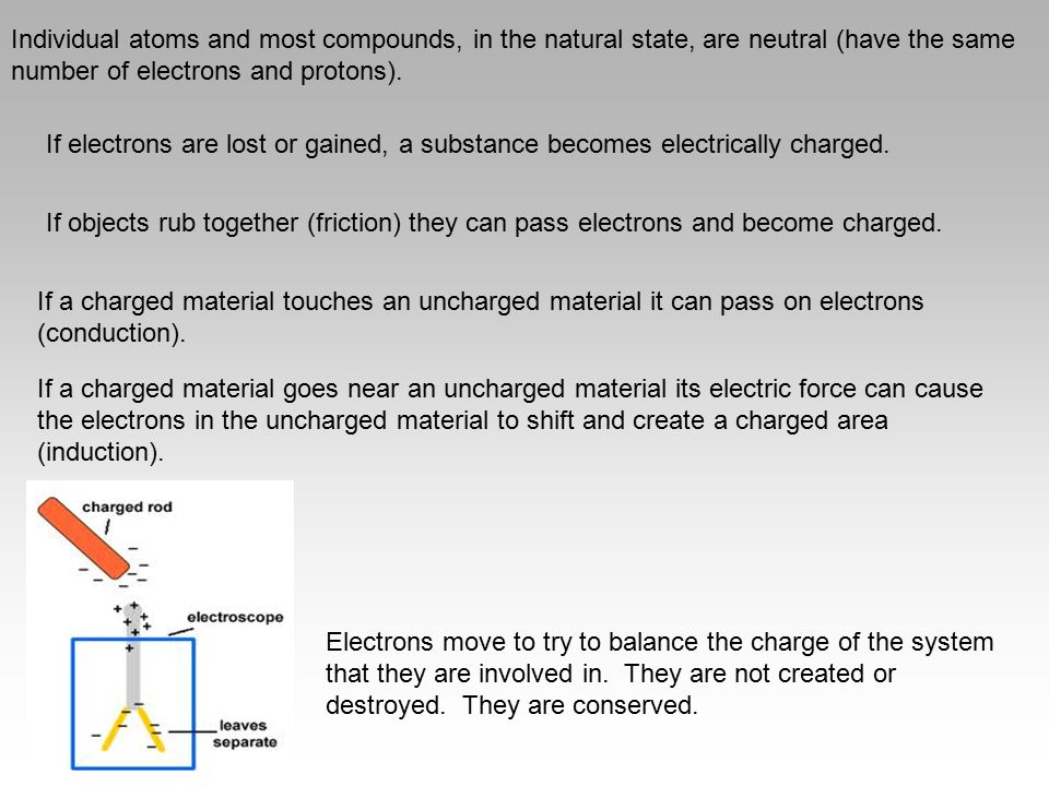 Individual atoms and most compounds, in the natural state, are neutral (have the same number of electrons and protons).