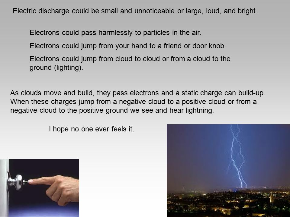 Electric discharge could be small and unnoticeable or large, loud, and bright.
