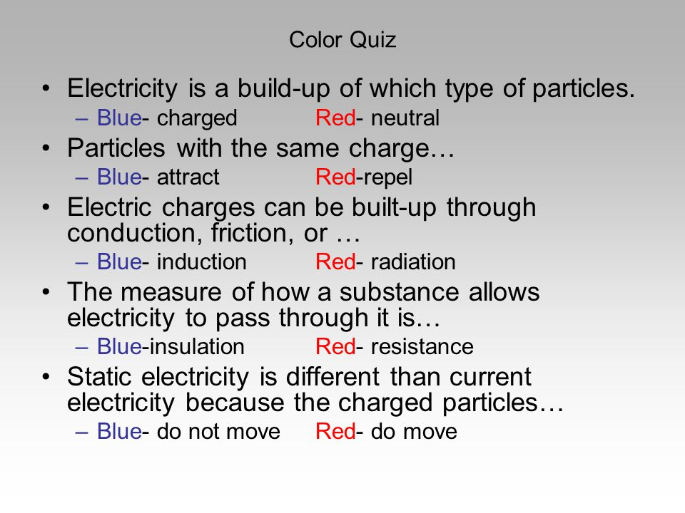 Electricity is a build-up of which type of particles.
