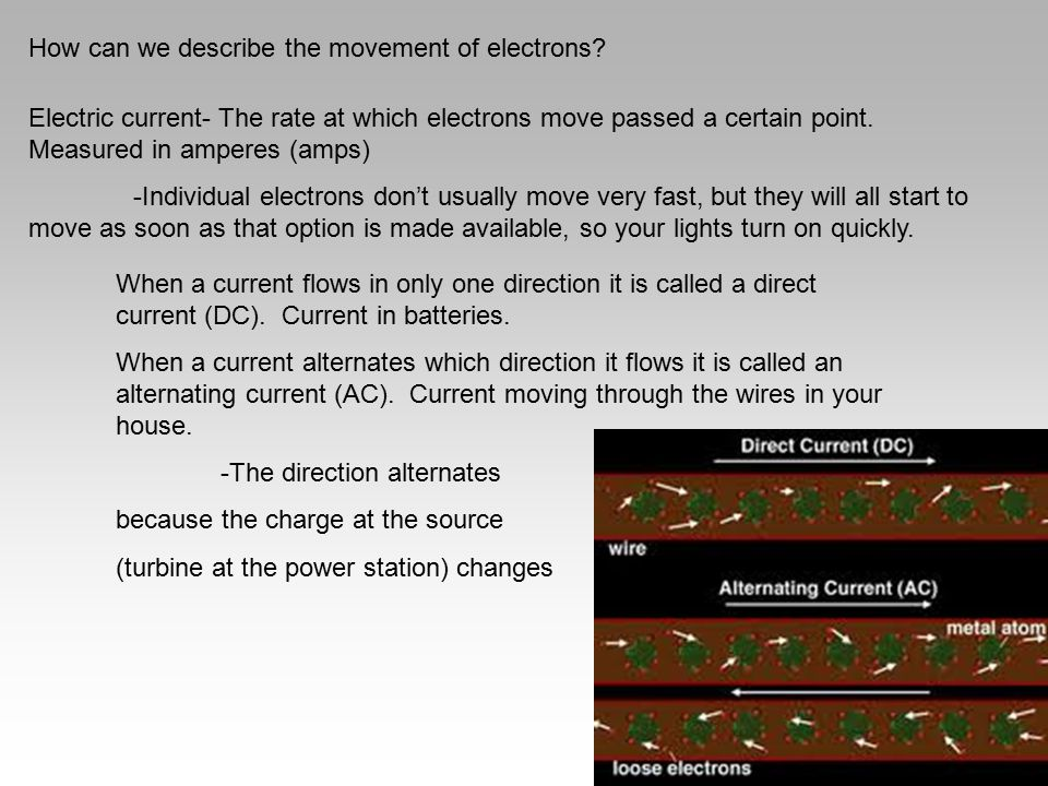 How can we describe the movement of electrons