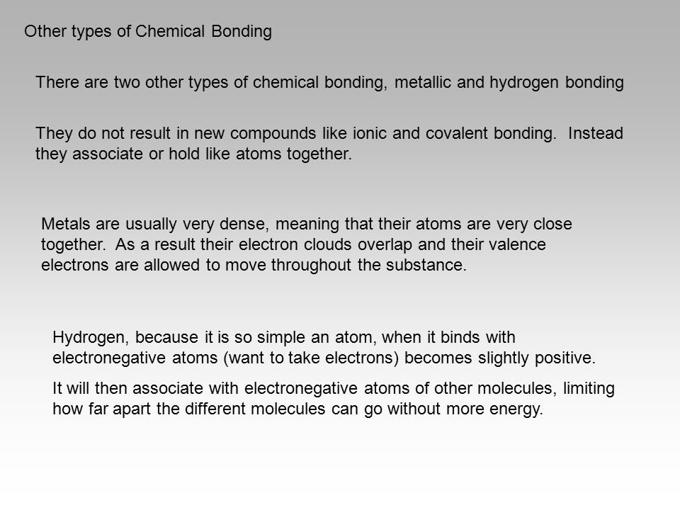 Other types of Chemical Bonding
