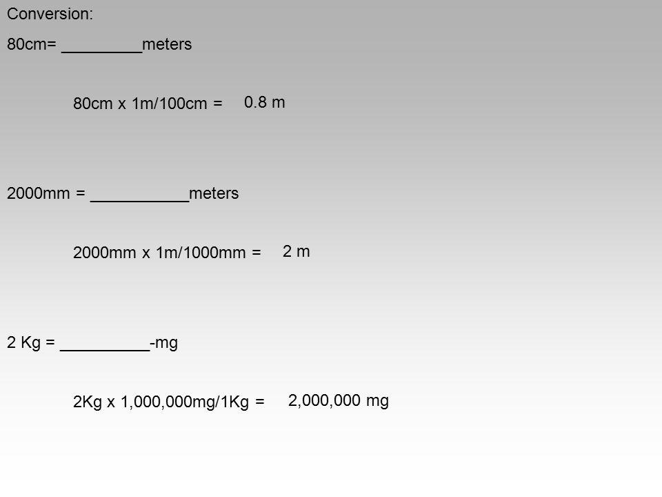 Conversion: 80cm= _________meters. 80cm x 1m/100cm = 2000mm = ___________meters. 2000mm x 1m/1000mm =