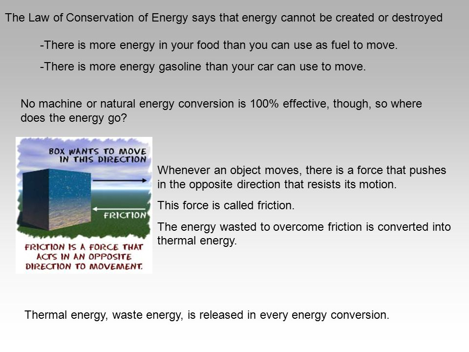 The Law of Conservation of Energy says that energy cannot be created or destroyed