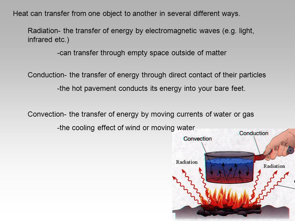 Heat can transfer from one object to another in several different ways.