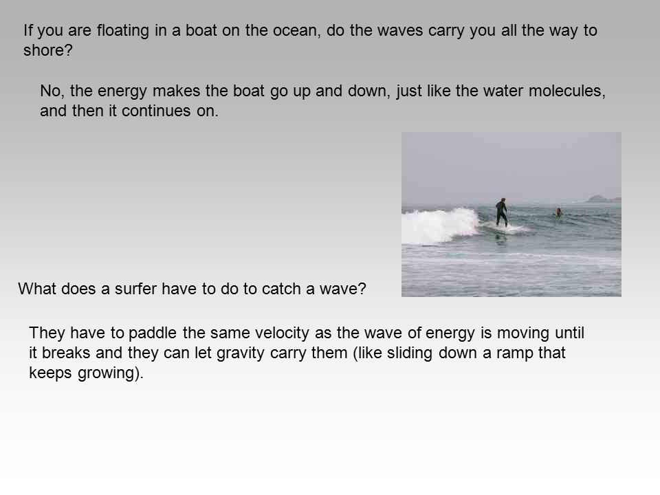 If you are floating in a boat on the ocean, do the waves carry you all the way to shore