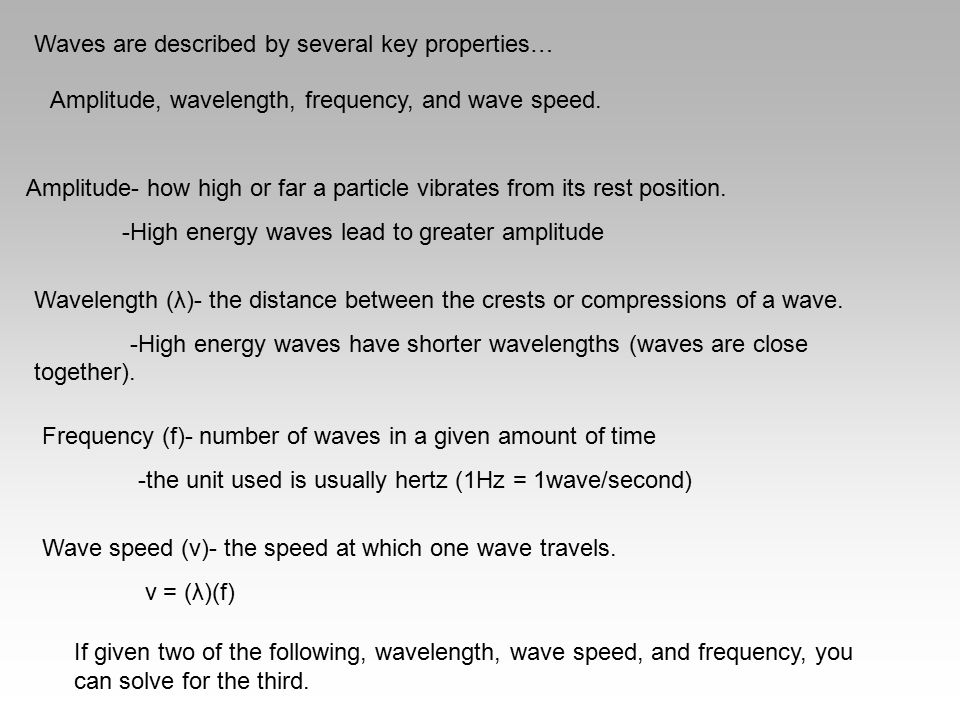 Waves are described by several key properties…