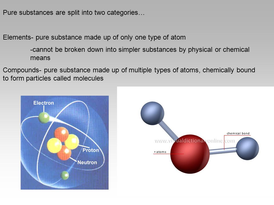 Pure substances are split into two categories…