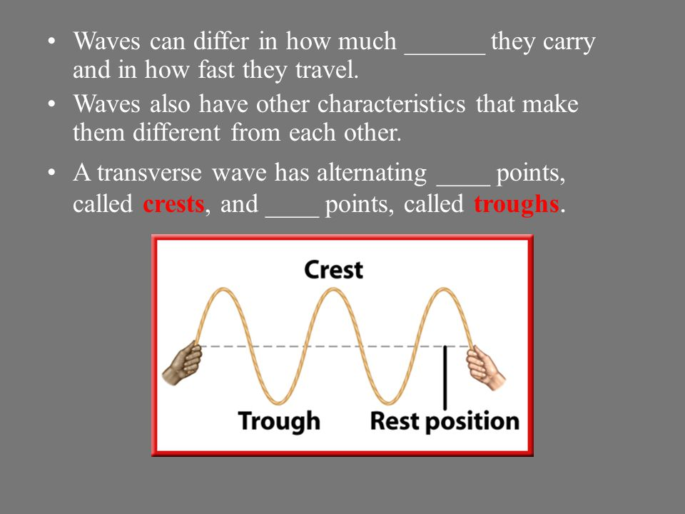 Waves can differ in how much ______ they carry and in how fast they travel.