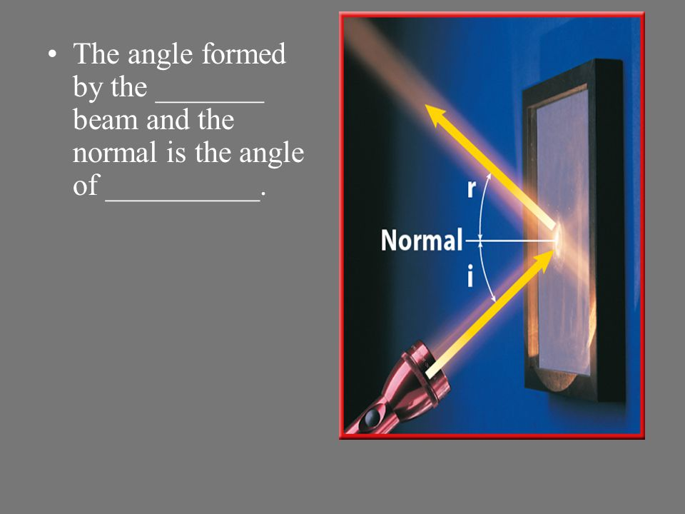 The angle formed by the _______ beam and the normal is the angle of __________.