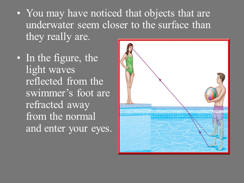 You may have noticed that objects that are underwater seem closer to the surface than they really are.