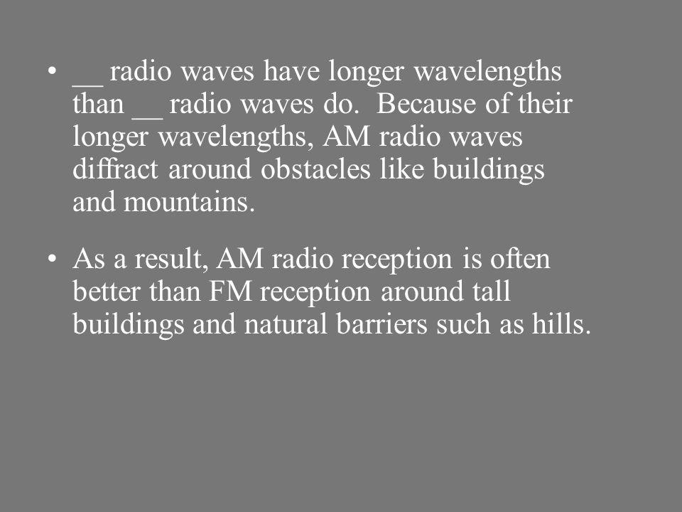 __ radio waves have longer wavelengths than __ radio waves do