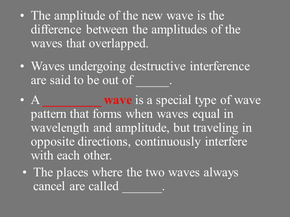 The amplitude of the new wave is the difference between the amplitudes of the waves that overlapped.