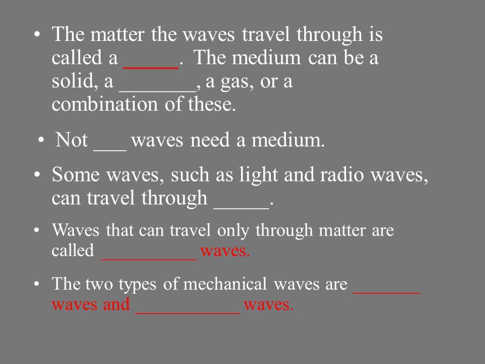 Not ___ waves need a medium.