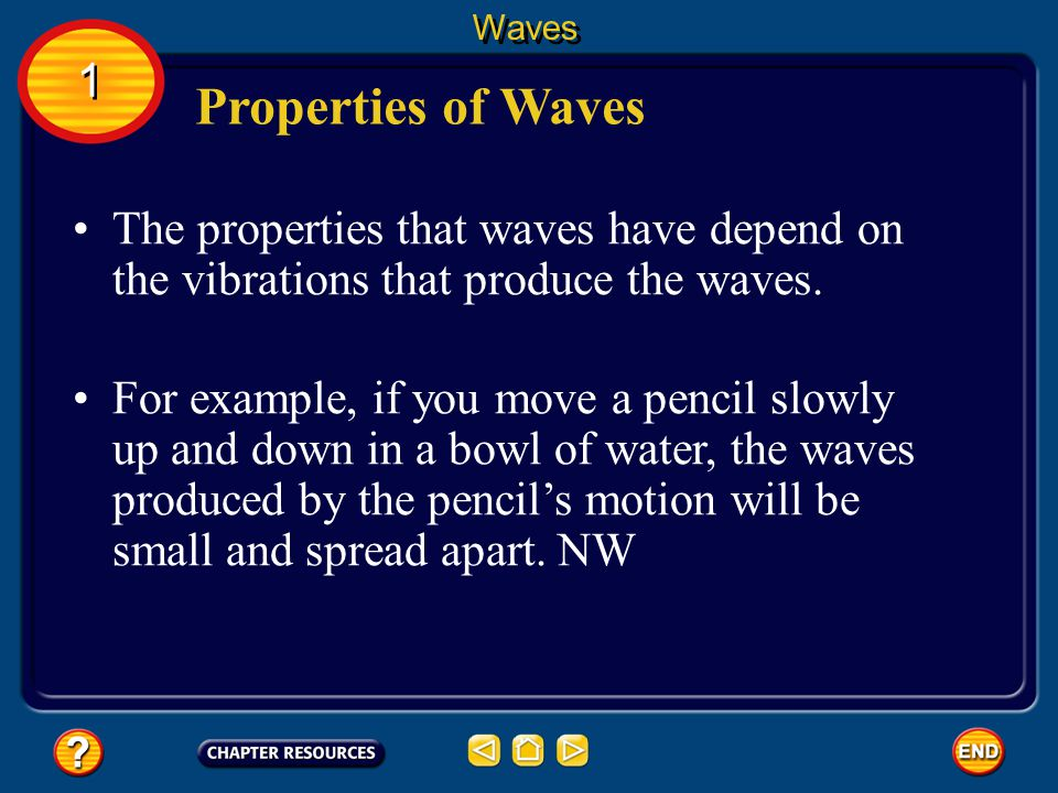 Waves 1. Properties of Waves. The properties that waves have depend on the vibrations that produce the waves.