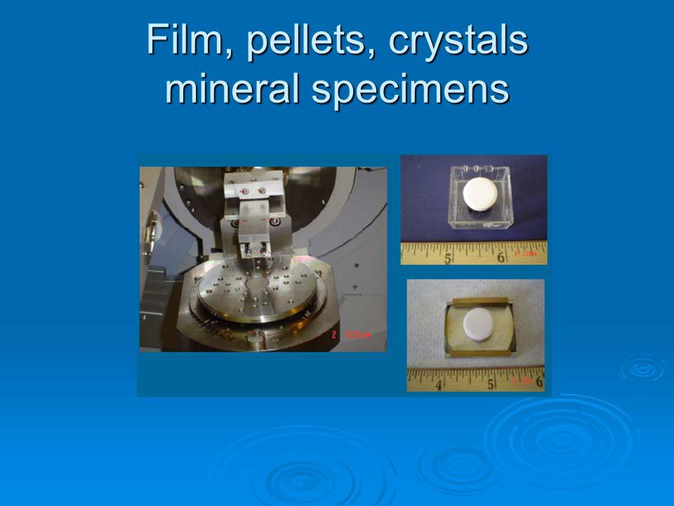 Film, pellets, crystals mineral specimens