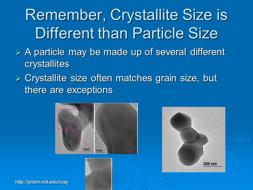 Remember, Crystallite Size is Different than Particle Size
