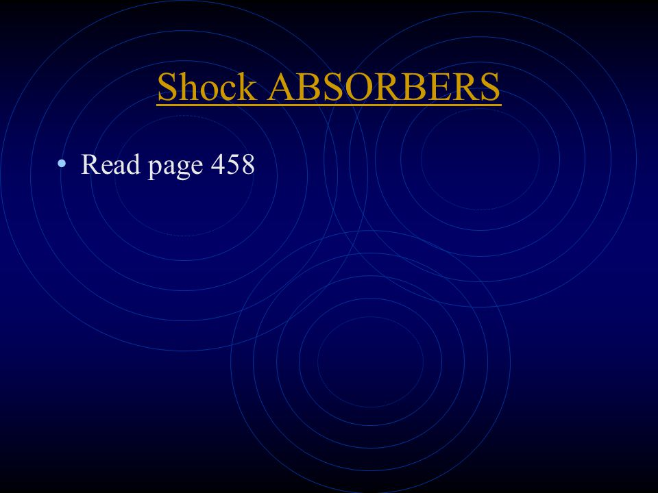 Shock ABSORBERS Read page 458