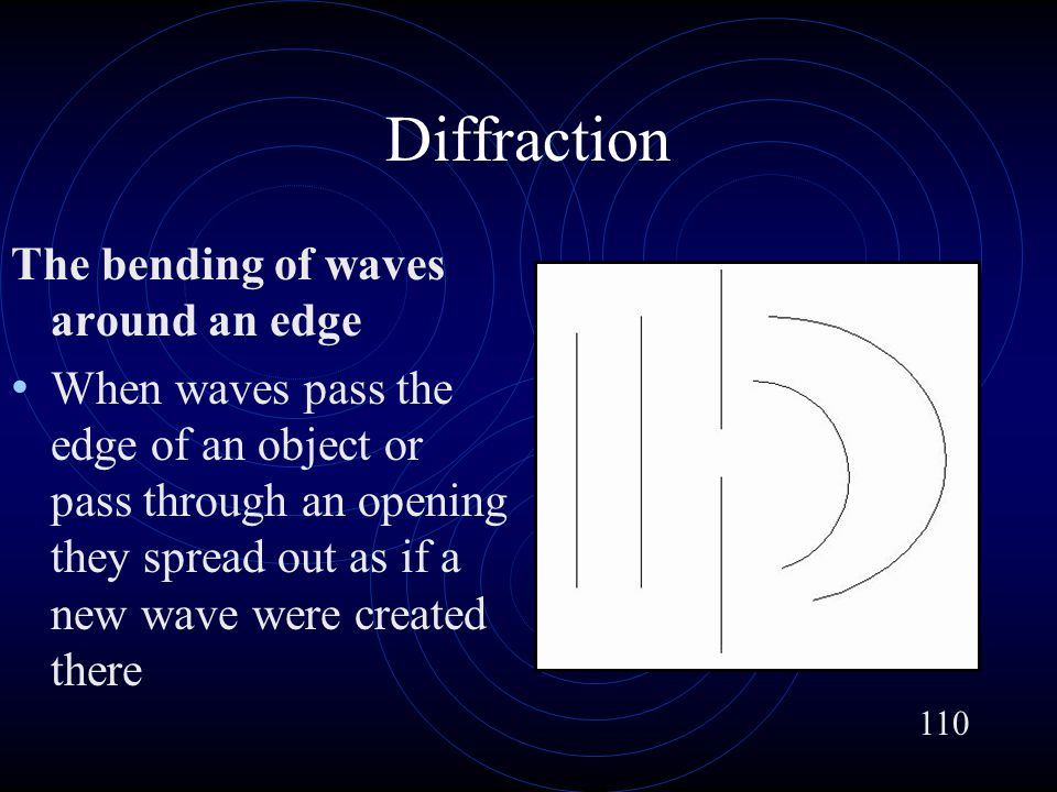 Diffraction The bending of waves around an edge