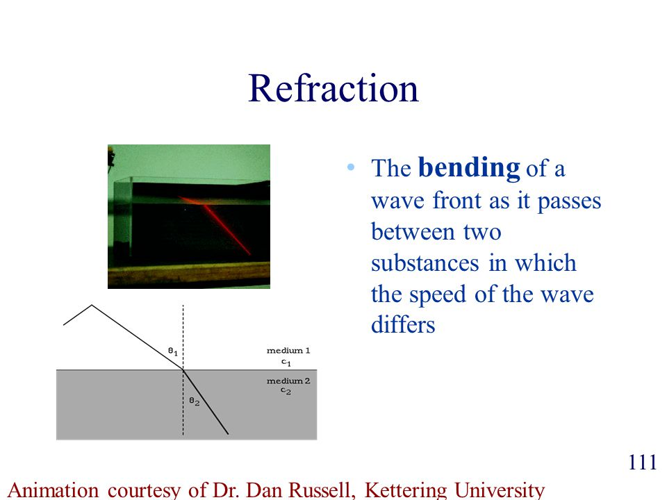 Refraction The bending of a wave front as it passes between two substances in which the speed of the wave differs.