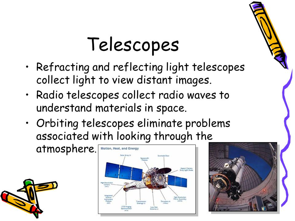 Telescopes Refracting and reflecting light telescopes collect light to view distant images.