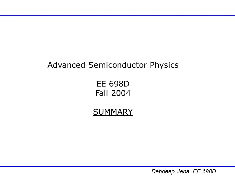 Advanced Semiconductor Physics