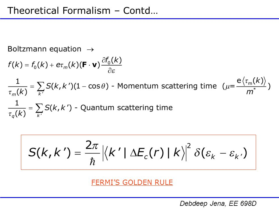 Theoretical Formalism – Contd…