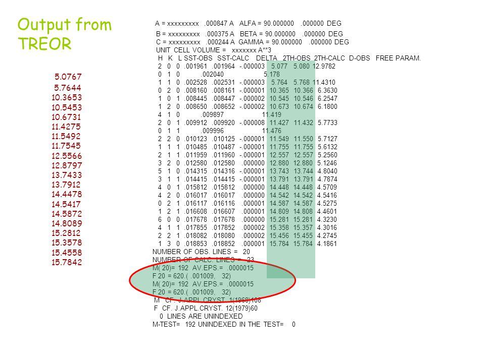 A = xxxxxxxxx .000847 A ALFA = 90.000000 .000000 DEG Output from TREOR