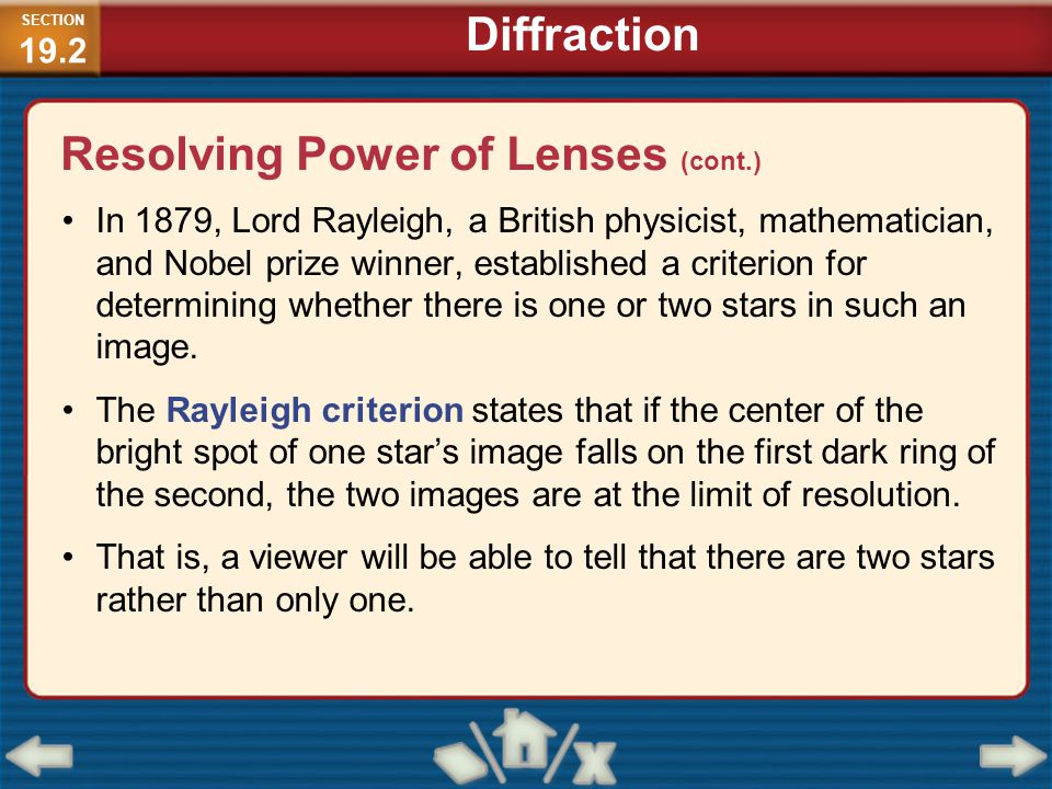 Resolving Power of Lenses (cont.)