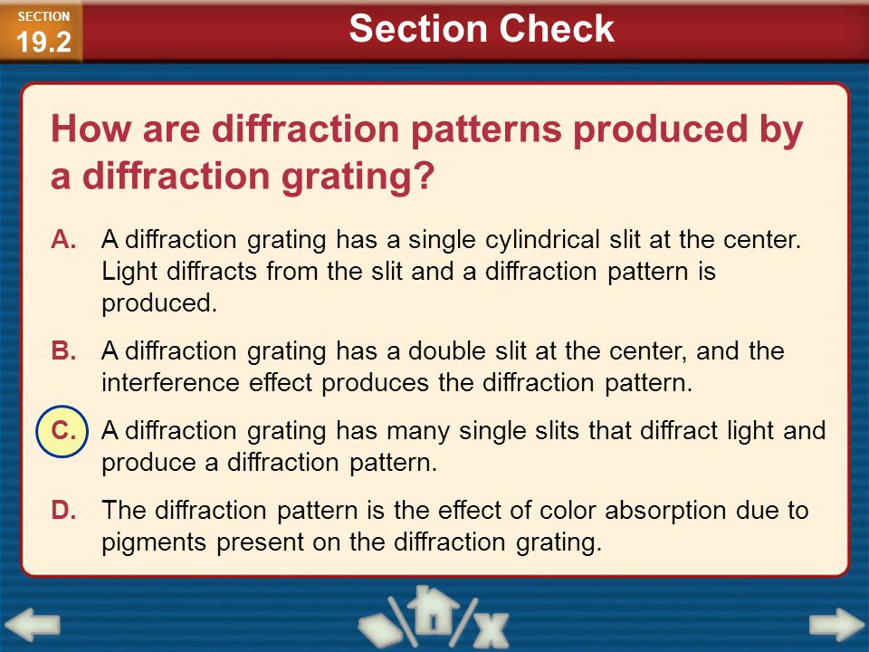 How are diffraction patterns produced by a diffraction grating