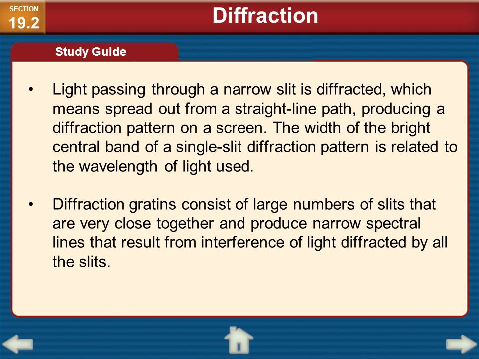 SECTION19.2 Diffraction. Study Guide.