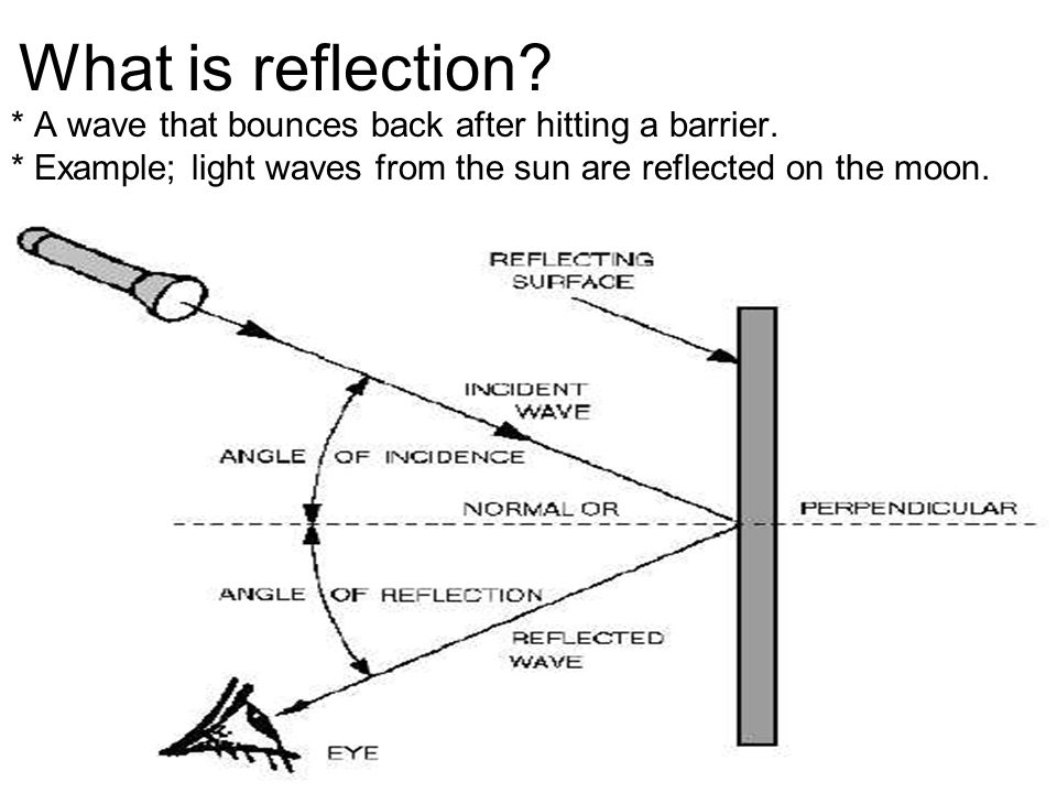 What is reflection. * A wave that bounces back after hitting a barrier.