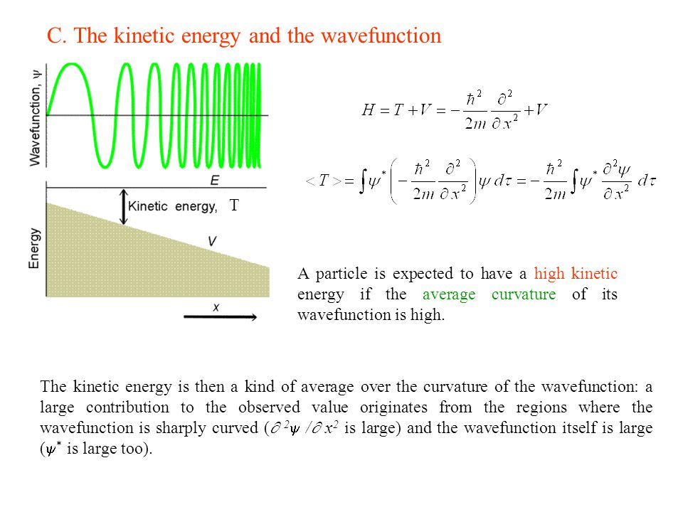 C. The kinetic energy and the wavefunction