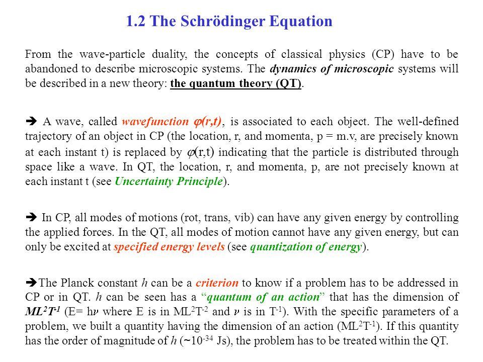 1.2 The Schrödinger Equation