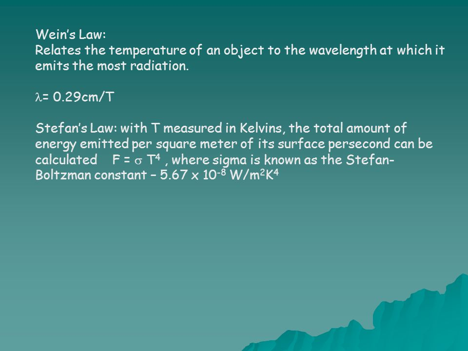 Wein's Law: Relates the temperature of an object to the wavelength at which it emits the most radiation.