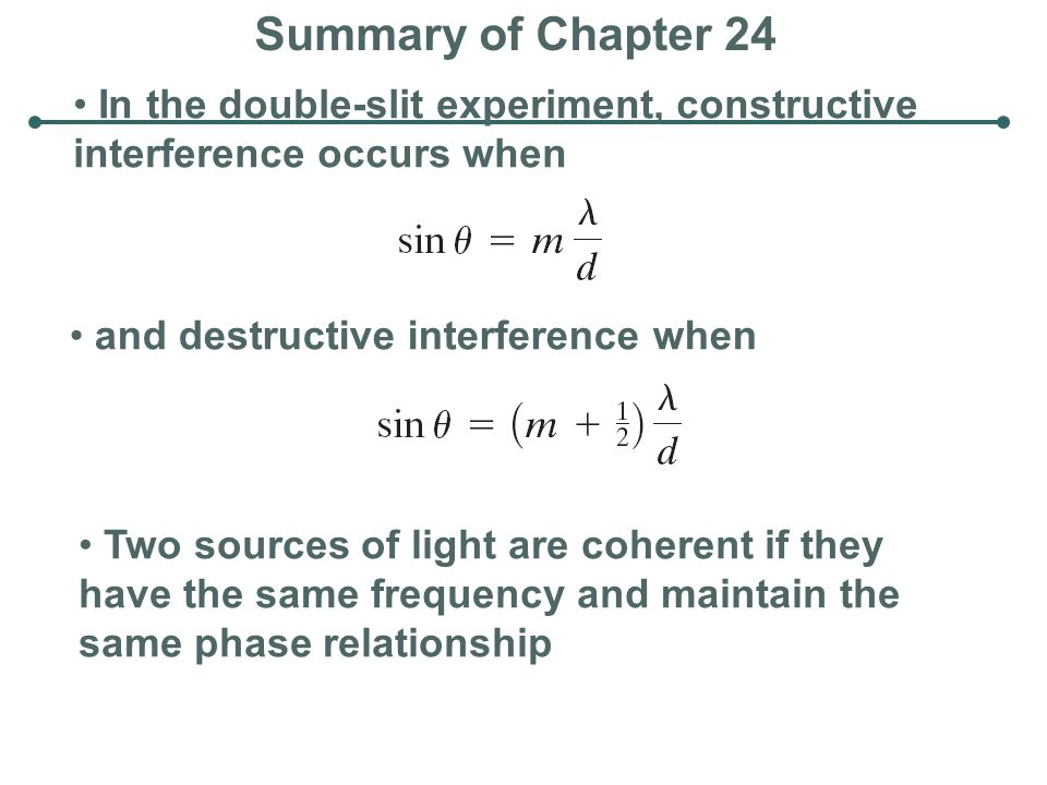 Summary of Chapter 24 In the double-slit experiment, constructive interference occurs when. and destructive interference when.