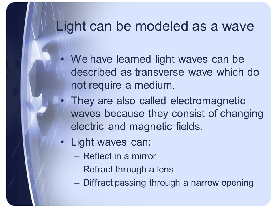 Light can be modeled as a wave