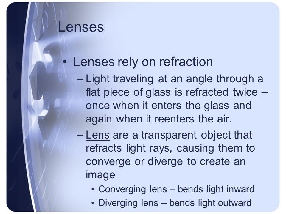 Lenses Lenses rely on refraction