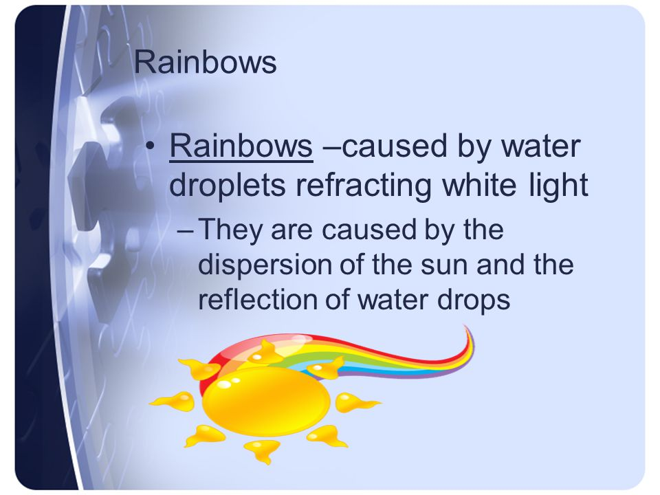 Rainbows –caused by water droplets refracting white light