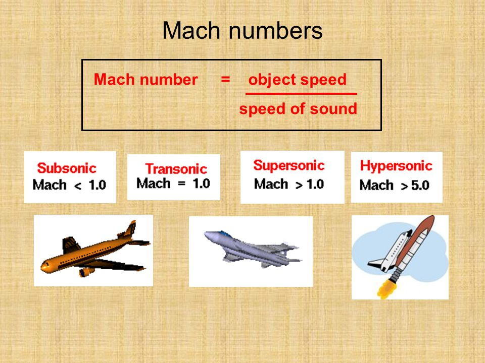 Mach numbers Mach number = object speed speed of sound