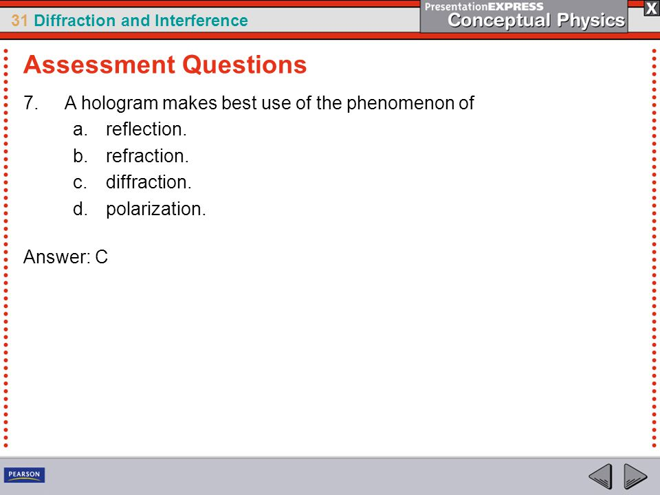 Assessment Questions A hologram makes best use of the phenomenon of