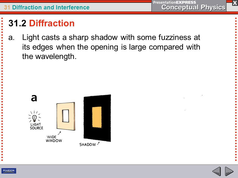 31.2 Diffraction Light casts a sharp shadow with some fuzziness at its edges when the opening is large compared with the wavelength.