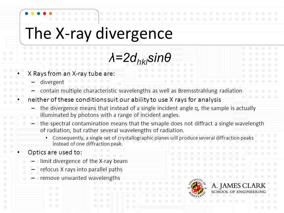The X-ray divergence λ=2dhklsinθ X Rays from an X-ray tube are: