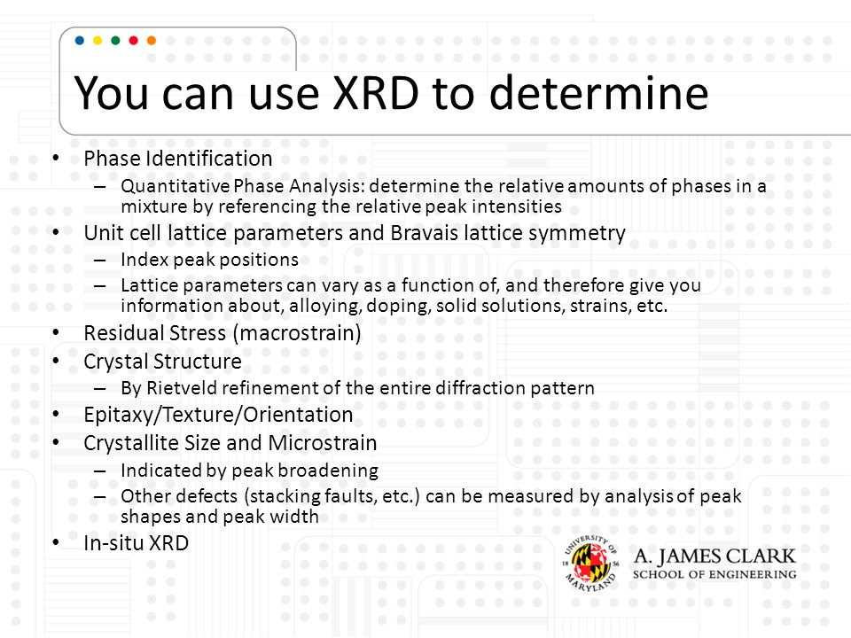 You can use XRD to determine